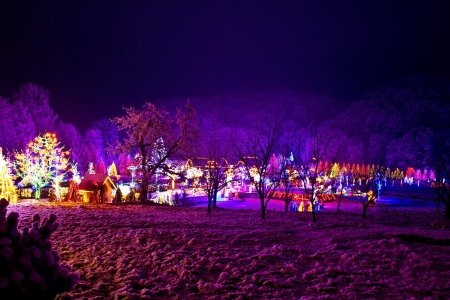 colorful lights: Christmas village in the forrest valley, Croatia