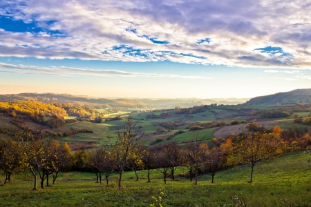 kalnik: Colorful early morning valley landscape in Croatia Stock Photo