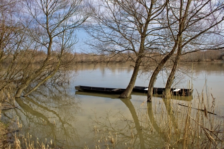 drava: Wooden boats on Drava River, Podravina, Croatia Stock Photo