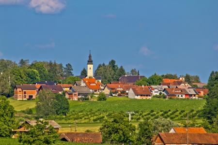 kalnik: Croatian village of sveti ivan zabno in green nature, Prigorje region