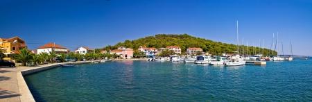 Kukljica, small fishermen town on Island of Ugljan panoramic view, Dalmatia, Croatia