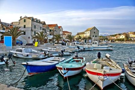 Dalmatian town of Primosten harbor, Dalmatia, Croatia Stock Photo