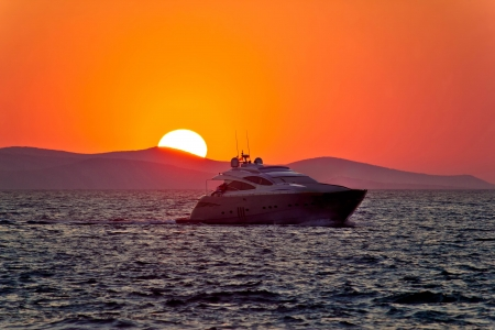 Yacht on sea with epic sunset, Mediterranean, Croatia