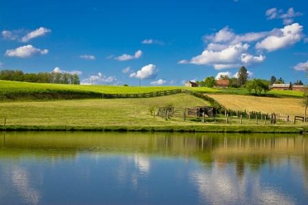 Green landscape and blue lake and sky, Prigorje region, Croatia