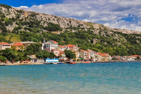Adriatic town of Baska waterfront and beach, Island of Krk, Croatia Stock Photo