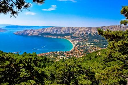 Adriatic town of Baska aerial view, Island of Krk, Croatia Reklamní fotografie