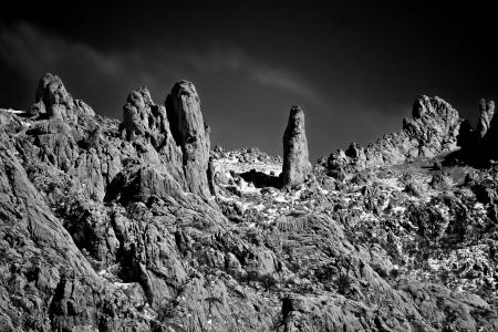 Stone planet surface black and white  Velebit national park  photo
