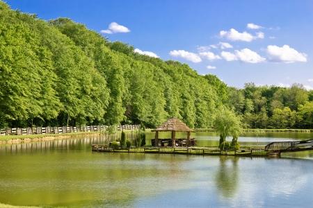Wooden arbour on green lake, Prigorje region, Croatia