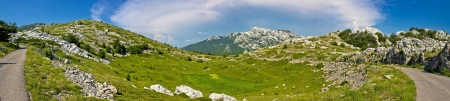 Velebit mountain wilderness panoramic view, Crnopac peak, Croatia photo