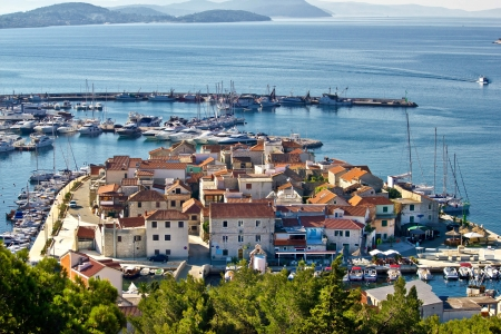 Dalmatian town of Tribunj, Vodice aerial view, Dalmatia, Croatia