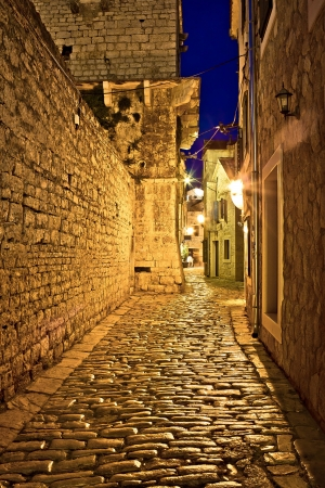 Narrow stone street in Vodice, Dalmatian architecture, Croatia