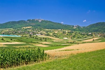 kalnik: Kalnik mountain agricultural green landscape, Prigorje region, Croatia
