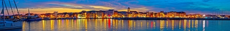Vodice waterfront colorfu evening panorama, Dalmatia, Croatia Stock Photo