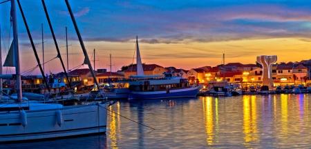 Town of Vodice harbor and monument, Dalmatia, Croatia