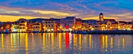 Colorful evening in Town of Vodice, Dalmatia, Croatia, panoramic view Standard-Bild