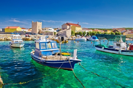 Adriatic Town of Razanac colorful waterfront, Dalmatia, Croatia