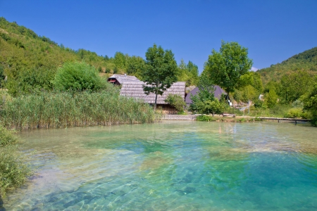 Turquoise water of Korana village in Plitvice lakes national park