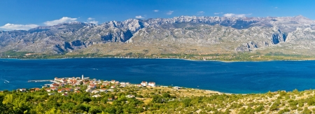 Town of Vinjerac and Paklenica national park on Velebit mountain colorful panorama Stock Photo