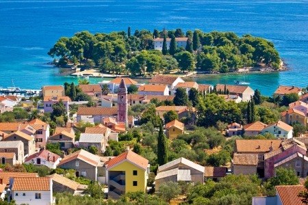 Town of Preko and Galovac island monastery, Ugljan Island, Dalmatia, Croatia