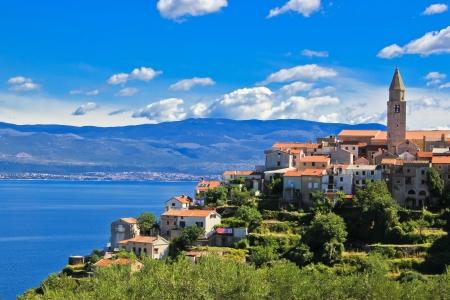 Adriatic Town of Vrbnik in front of blue sea, Island of Krk, Croatia