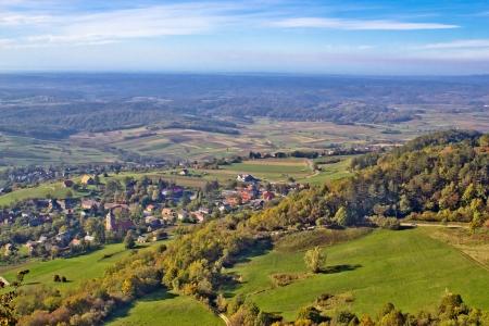 Green nature in region of Prigorje, Croatia, view from Kalnik mountain