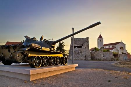 Military tank installation in Zadar, Dalmatia, Croatia