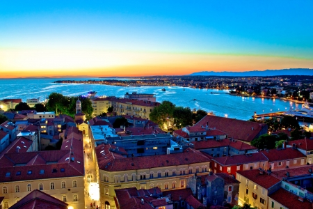 Colorful nightscapes of city Zadar, Dalmatia, Croatia Фото со стока