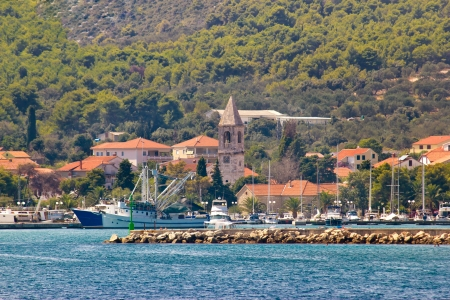 Town of Kukljica waterfront view, Ugljan island, Dalmatia, Croatia Stock Photo