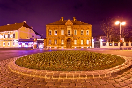 Zagreb street architecture night scene, capital od Croatia photo