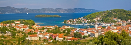 Island of Veli Iz panoramic view, Dalmatia, Croatia