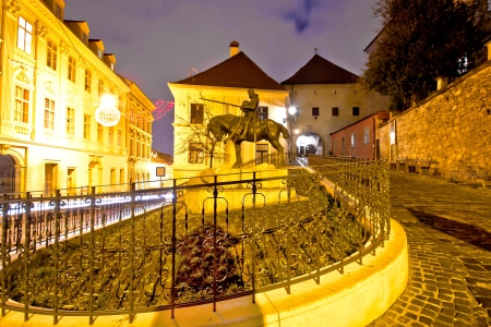 Zagreb stone gate sanctuary night view, Croatia photo