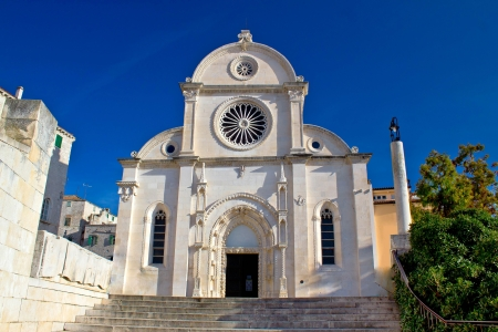 The Cathedral of St James in Sibenik facade view, site in Croatia