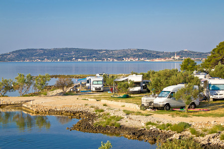 Camping vehicles by the sea in Croatia, near Betina, Island of Murter