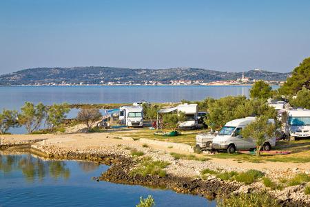 Camping vehicles by the sea in Croatia, near Betina, Island of Murter