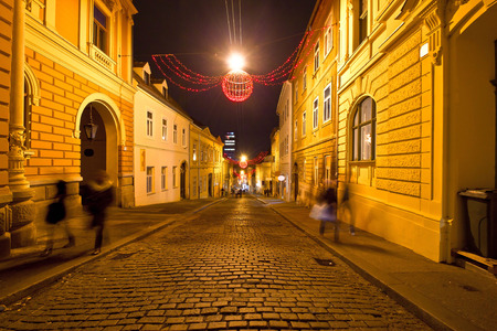 Old streets of Zagreb night view, capital of Croatia photo