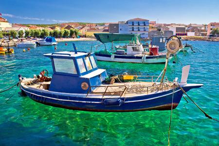 Fishing boat on turquoise sea, Razanac, Dalmatia, Croatia