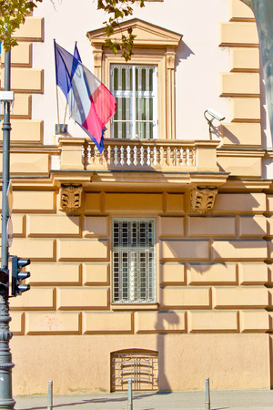 consulate: Embassy building with security cameras and windows, French embassy, Zagreb