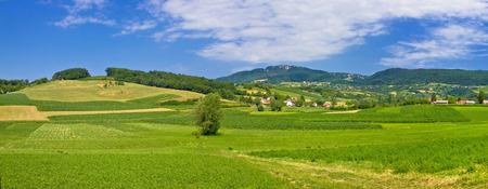 Green hills nature panoramic view, Kalnik mountain, Croatia