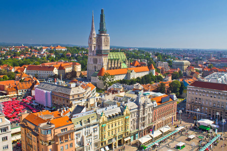 croatia: Zagreb main square and cathedral aerial view, Croatia