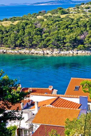 kornati national park: Rooftops, sea and stone islands of Kornati national park, Croatia
