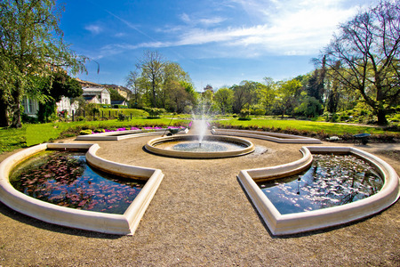 Fountain and park in Zagreb, capital of Croatia
