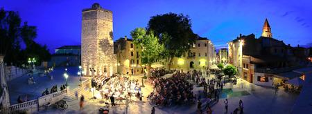 ZADAR, CROATIA - June 14 - Five wells square in Zadar, Croatia - open air Carmina Burana performance by croatian military forces symphony and Kolo singing society, taken on June 14 2014.
