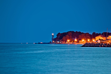 Puntamika peninsula night view in Zadar, Dalmatia, Croatia photo