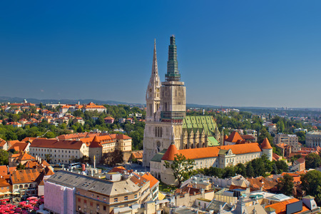 Zagreb cathedral panoramic aerial view, capital of Croatia Standard-Bild