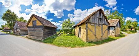 Rural village historic architecture in Croatia, Prigorje region, panoramic view