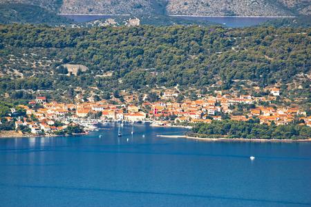 Veli Iz aerial waterfront view, Dalmatia, Croatia Stock Photo