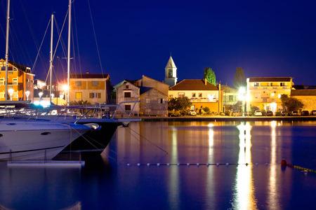 Adriatic town od Sukosan night waterfront view, Dalmatia, Croatia