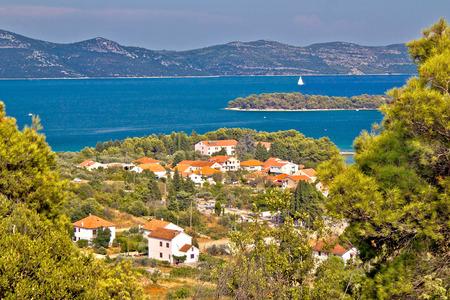 Croatian islands Iz and Ugljan view, Dalmatia, reion of Adriatic sea