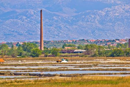 desalination: Salt fields of Nin view, Velebit mountain background