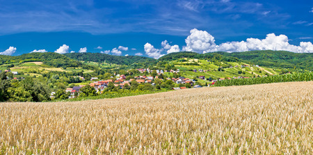 kalnik: Idyllic agricultural landscape of Kalnik mountain, village of Sudovec in Croatia Stock Photo